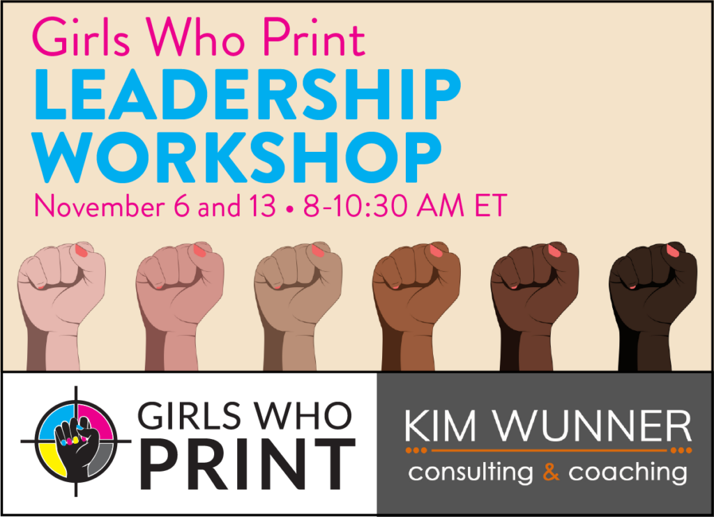 Women's Leadership Workshop for career development in print and marketing, banner with raised fists nailpolish showing